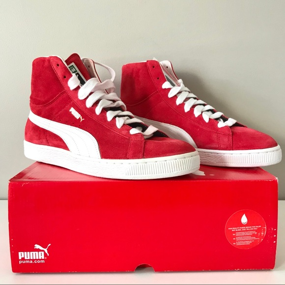 a27b2df0436841 Puma NEW Suede mid classic men s sneaker red white